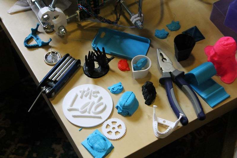 Various pieces of 3D printed gadgets.