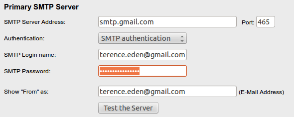SMTP Settings Screen-fs8