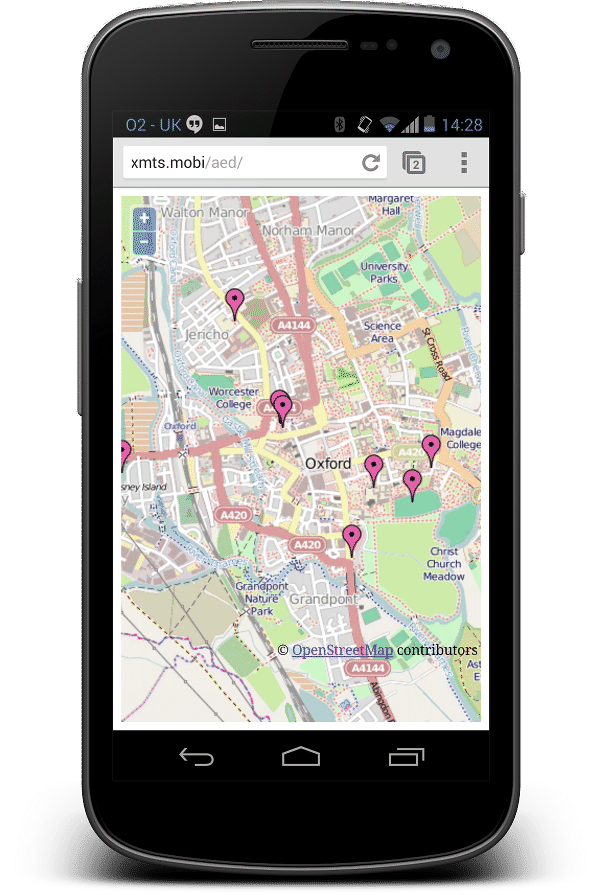 AED Mobile Web Screenshot Map