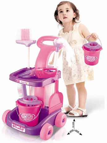 Pink Cleaning Trolley