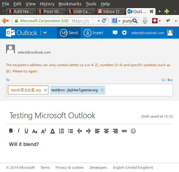 Outlook IDN Test