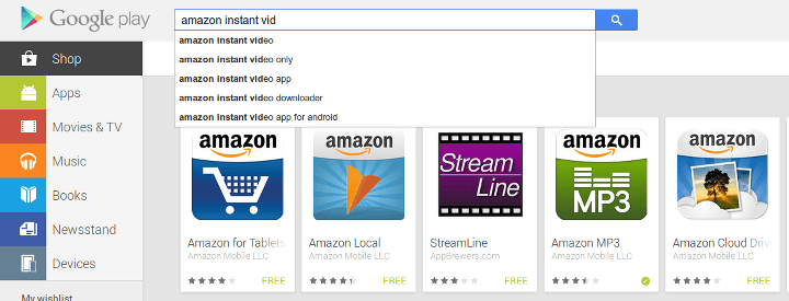 Screenshot of search results forAmazon Instant Video on Google Play - nothing found.