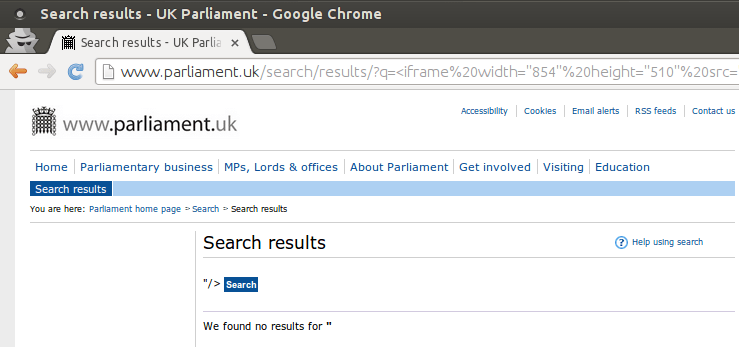 Parliament XSS Chrome
