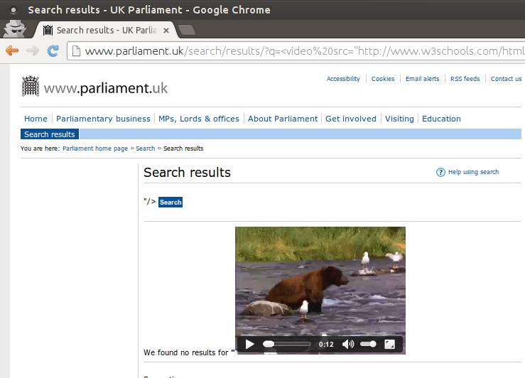 Parliament XSS Chrome video