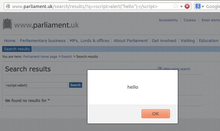 Parliament XSS JavaScript