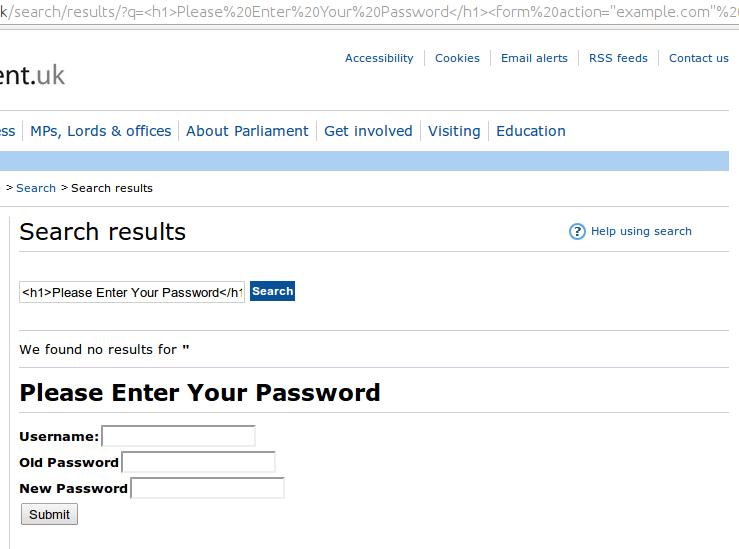 Parliament XSS Passwords