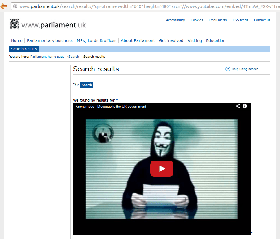 Parliament XSS Video