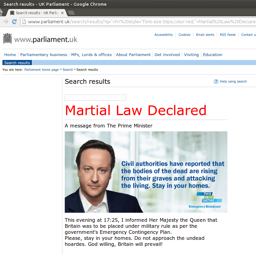 Parliament XSS Satire