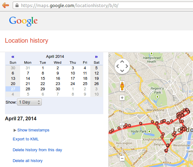 Google Location history screenshot