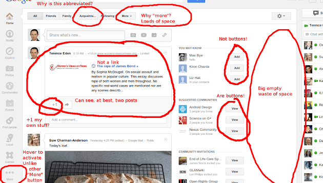 Google Plus UI Crap