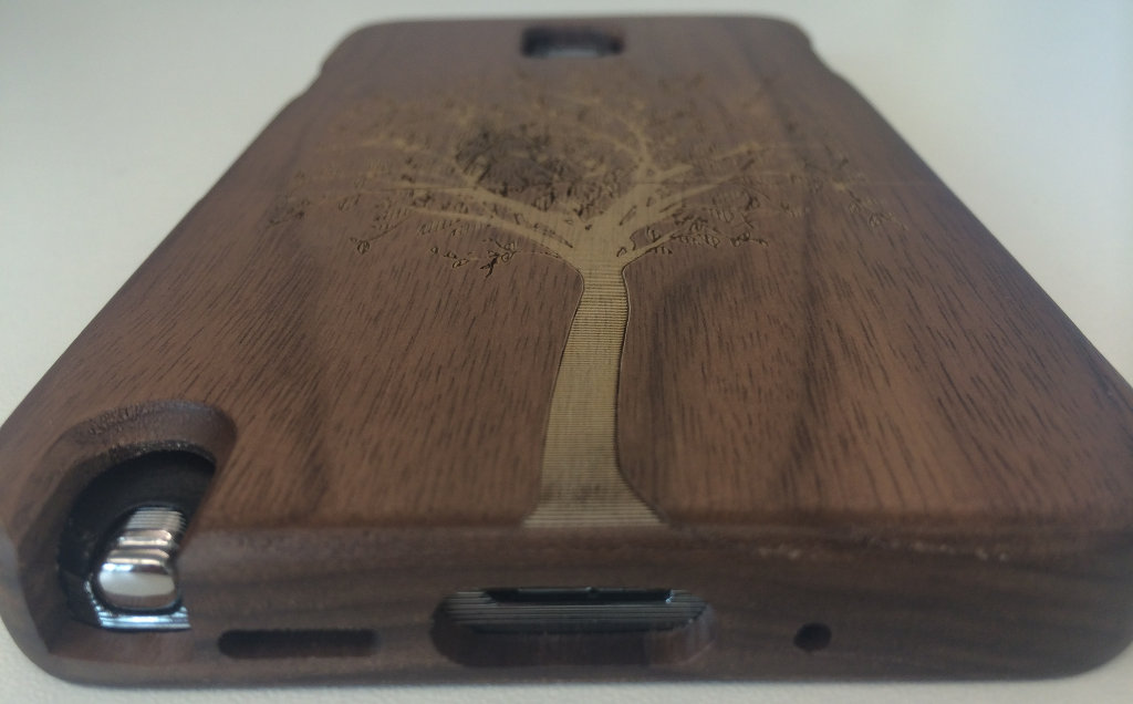Bamboo Case Bottom Ports and Etching Detail