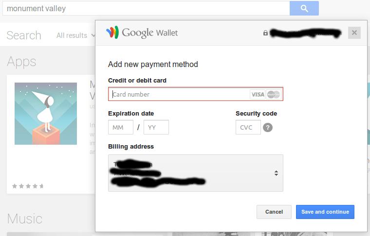 Google Play PayPal Nope