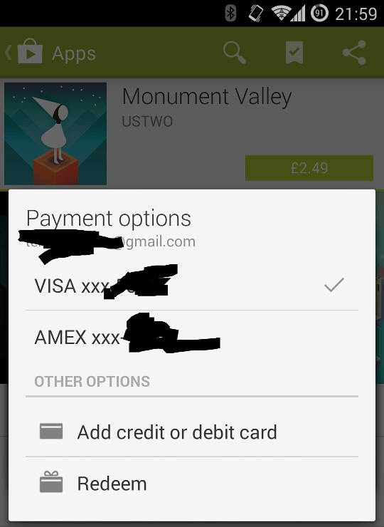Google Play PayPal in app