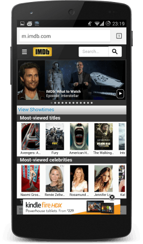 IMDB website with Amazon advert