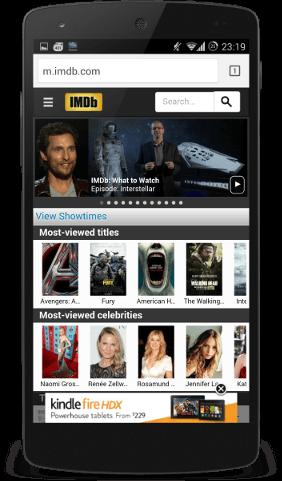 IMDB website with Amazon advert