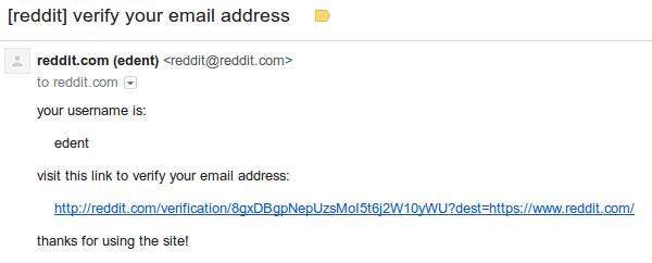 Reddit Email Verification