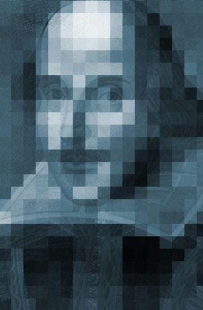 A pixelated Shakespeare.
