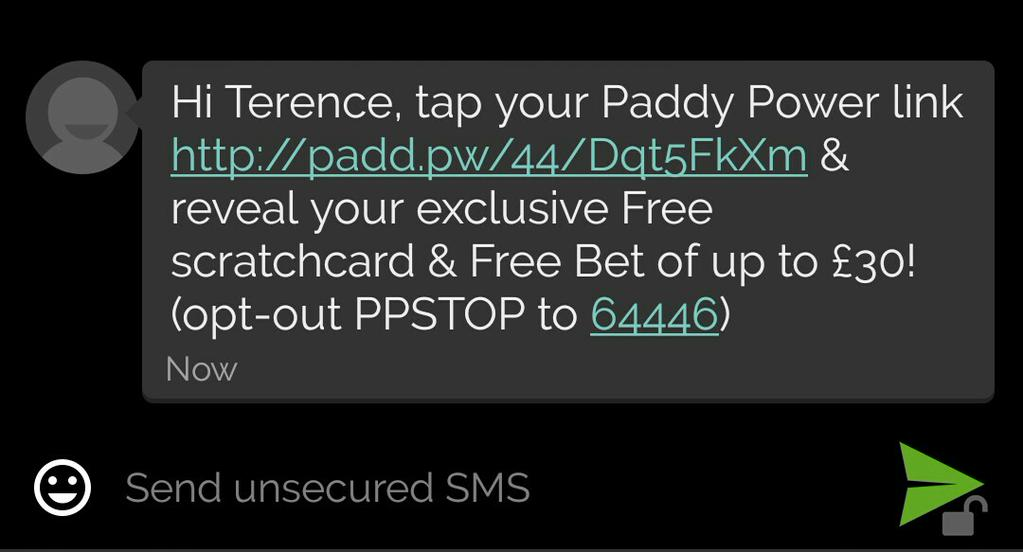 Paddy Power SMS Spam