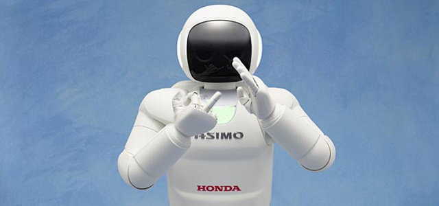 Asimo robot giving the Up Yours sign