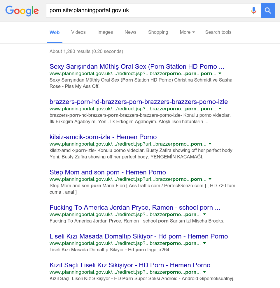 Page of Google results showing pornographic links on a UK Government pages