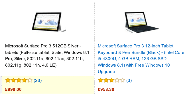 Surface Pro 3 Tablets costing £1000 on Amazon.