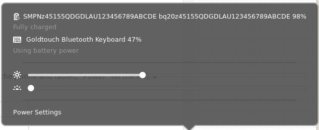 Bluetooth Keyboard battery level showing in GUI
