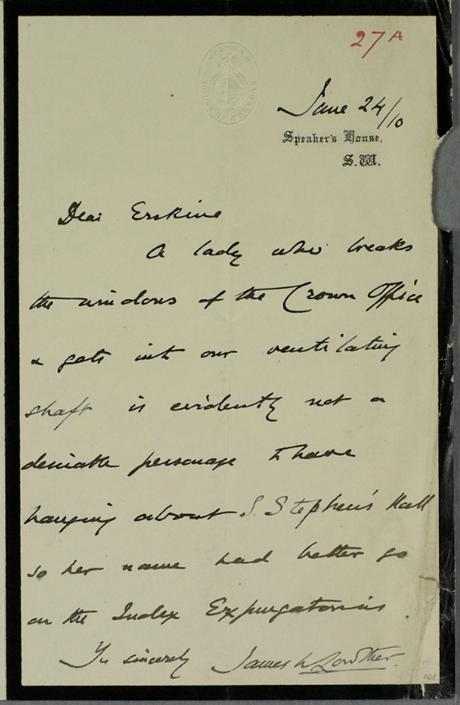 A hand written letter from the year 1910 banning a woman from Parliament