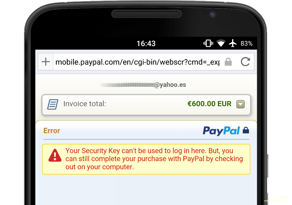 PayPal doesn't accept 2FA-