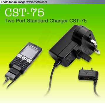 Sony Ericsson CST-75 charger and headset connected to phone