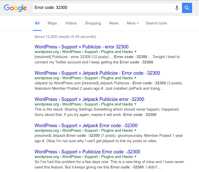 Google search for error code without a negative number - correct results returned