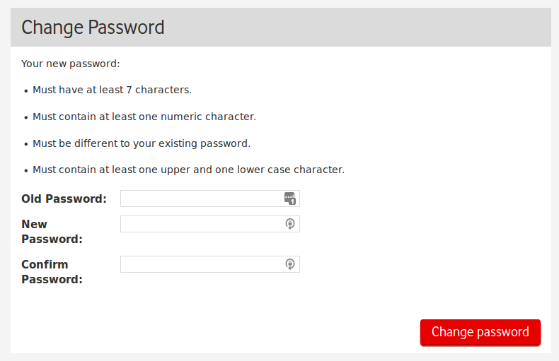 Screenshot of A Change Password field. It lists various restrictions - but nothing about a maximum length