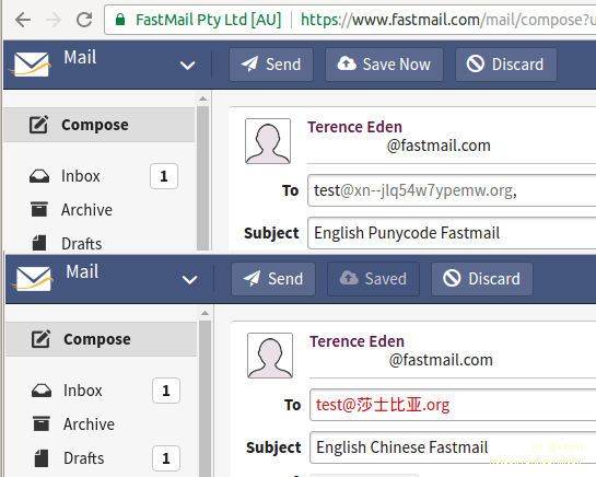 Fastmail apparently showing that the email address is invalid