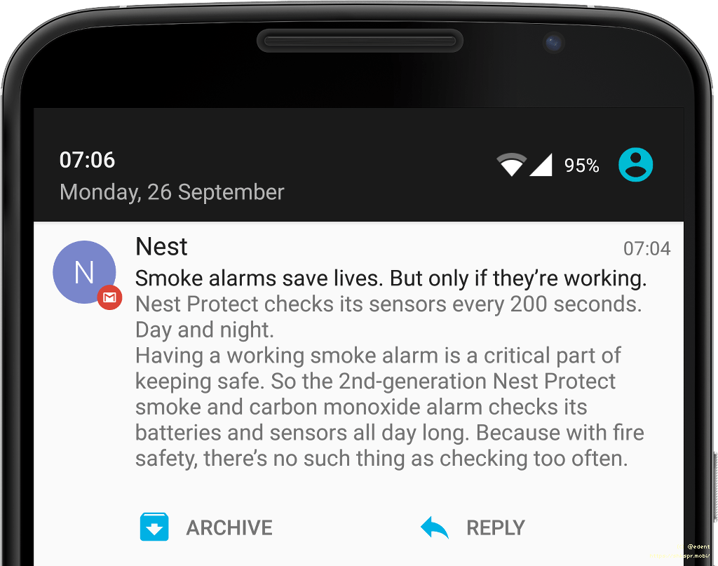 a screenshot of a mobile phone displaying a Nest alert