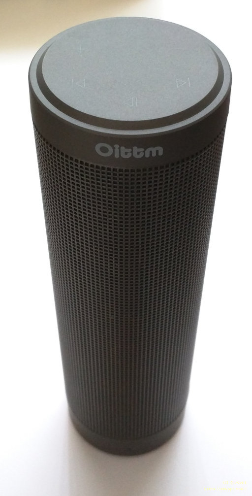 Oittm Realsound is a black tube with speaker grills all around it