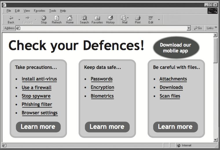 Internet Explorer 6 showing a poorly designed website