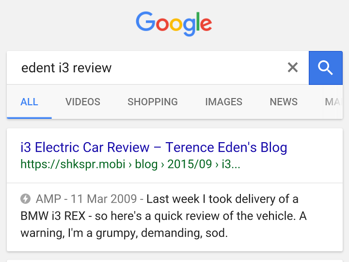 AMP pages showing in search results