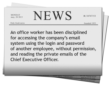 News article about an office worker using another employee's password without permission