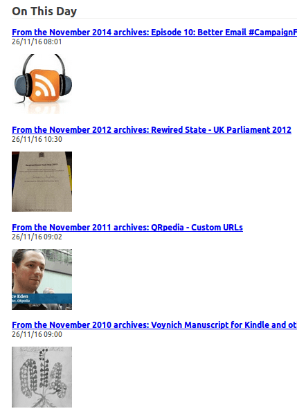 Screenshot of an RSS feed