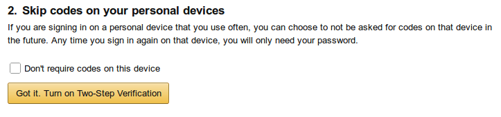 A screen letting you know that you can disable 2FA on specific devices.