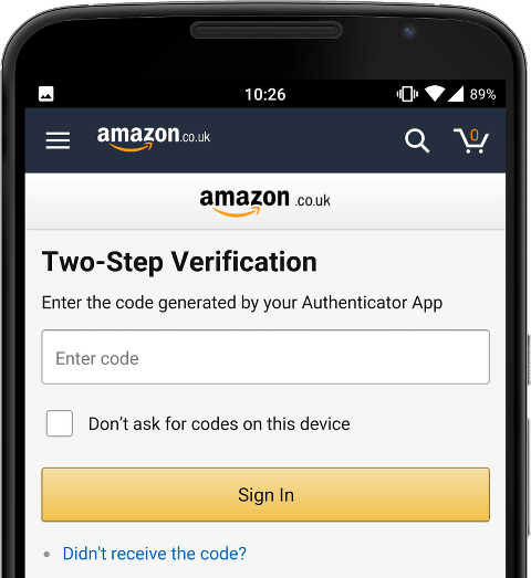 A mobile phone screen showing the Amazon login page, there is an option to disable 2FA
