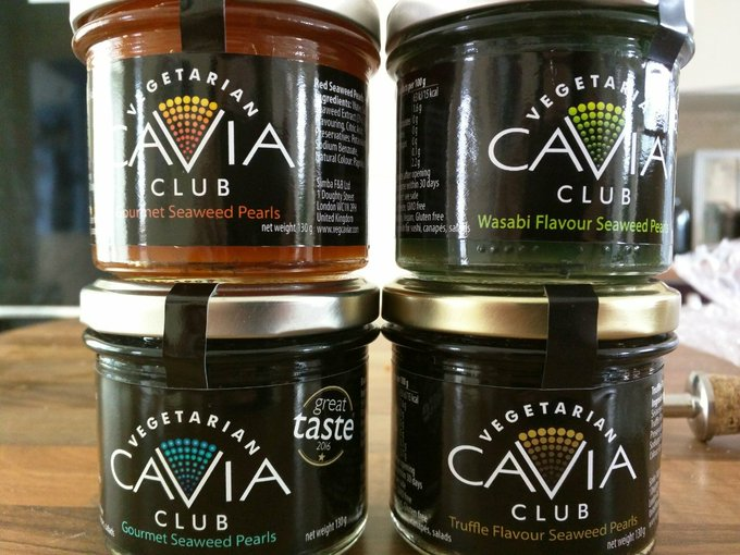 Four jars of vegetarian caviar
