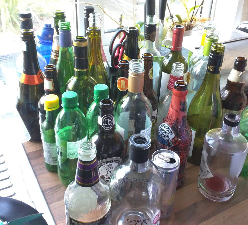 Lots of empty alcohol bottles