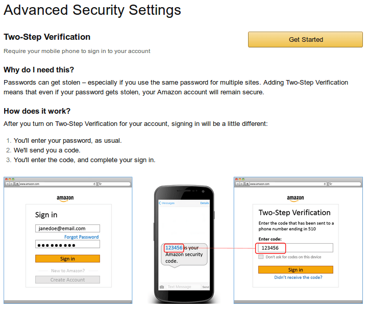 A screen from Amazon showing how to use 2FA