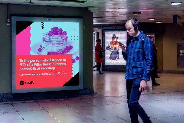 "A Spotify advertising poster which reads - To the person who listened to ""I took a pill in Ibiza"" 52 times on the 9th of February. Everyone celebrates Pancake day differently."