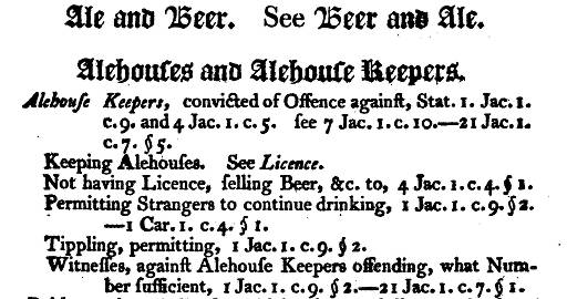 A list of statutes which apply to alehouse keepers