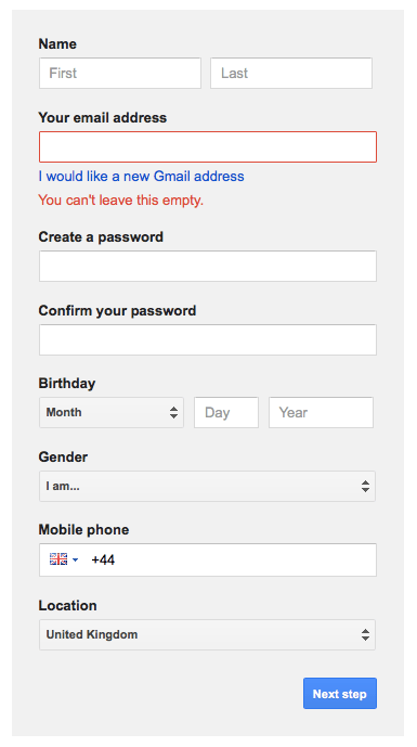 Gmail insists you have an email address