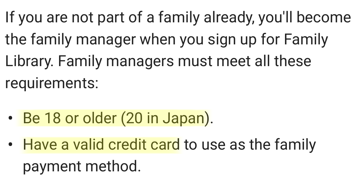 The be the head of the family you must be 18 and have a credit card.