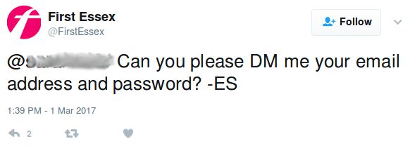 A train company asking for a password to be sent via DM
