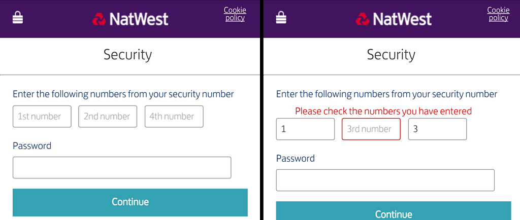 Sneaky attack asking for three numbers from your PIN, then asking for a different set of numbers